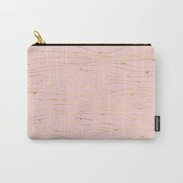 Modern Blush Pink with Golden Wavy Lines and Circles Carry-All Pouch