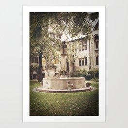 Fountain Courtyard Color Photo Art Print