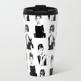 Black and white Audrey Hepburn pattern Travel Mug
