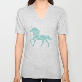 Teal Unicorn Circle Art Unisex V-Neck