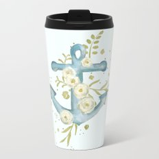 Blue anchor and flowers Metal Travel Mug