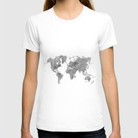 vintage map T-shirts featuring World Map Black Vintage by City Art Posters