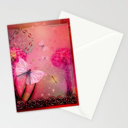 Wonderful butterflies with dragonfly Stationery Cards