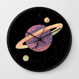 Pink and Purple Ultraviolet Planet Wall Clock