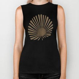 Gold Fan Palm Leaf Biker Tank