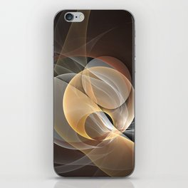 Brown, Beige And Gray Abstract Fractals Art iPhone Skin