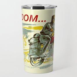 Retro vintage style FREEDOM motorcycle Travel Mug