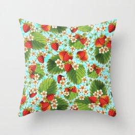 Botanical Strawberries Throw Pillow