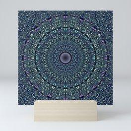 Blue Sacred Kaleidoscope Mandala Mini Art Print