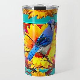 Decorative Ornate  Burgundy-Blue Jay Sunflowers Travel Mug