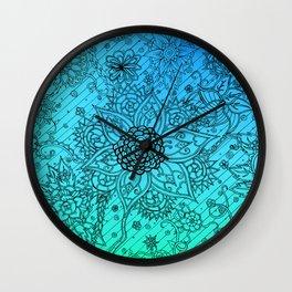 Flower Zen: Blue-Green Fade Wall Clock