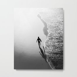 California Surfer Walking the Shore Metal Print