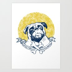 Pug : Small dog, big attitude. Art Print