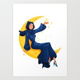 Lady on the Moon Art Print
