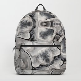 Black and White Neutral Kaleidoscope Art Print Backpack