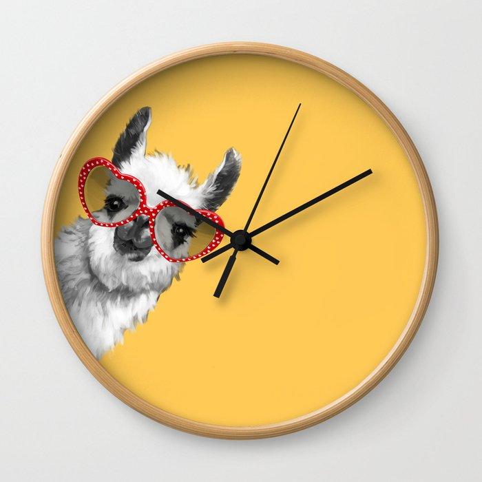 Fashion Hipster Llama with Glasses Wall Clock