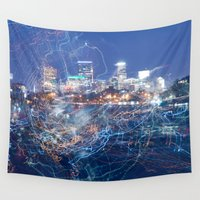 minneapolis Wall Tapestries featuring Minneapolis Neon by Andrew C. Kurcan