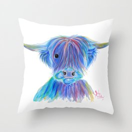 Scottish Highland Cow ' HIGHLAND BLOO ' by Shirley macArthur Throw Pillow