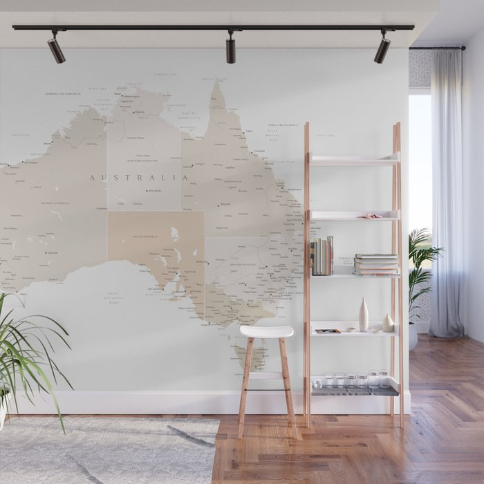 Map of Australia with cities in beige and light brown Wall Mural