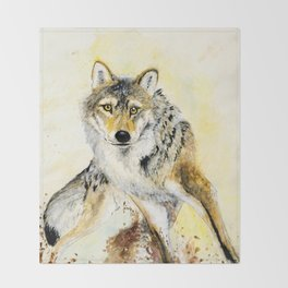 Totem Grey wolf Throw Blanket
