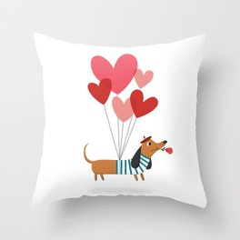 Dachshund Puppy Love Throw Pillow