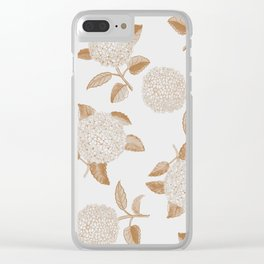 Classic, atermporal, elegant floral golden on off-white pattern.Vintage look. Big hydrangeas. Clear iPhone Case