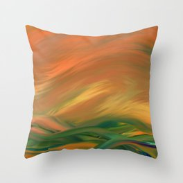 Sunset over the sea of worries Throw Pillow