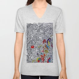 Pattern Doddle Hand Drawn  Black and White Colors Street Art Unisex V-Neck