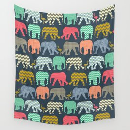baby elephants and flamingos Wall Tapestry