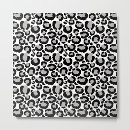 White Black & Light Gray Leopard Print Metal Print