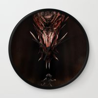 smaug Wall Clocks featuring Smaug And The Thief by Andy Fairhurst Art