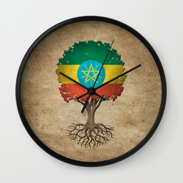 Vintage Tree of Life with Flag of Ethiopia Wall Clock