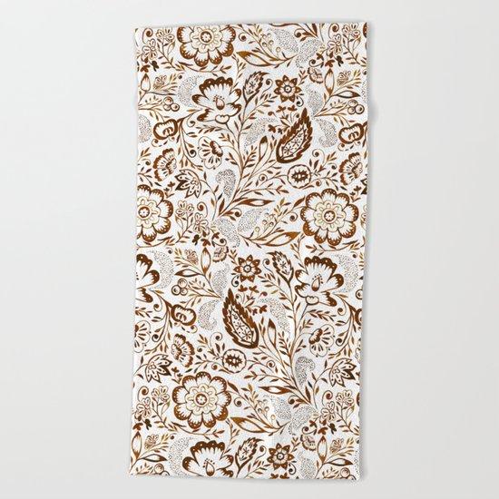 Folk Floral Brown Beach Towel