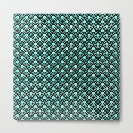 Mermaid Scales in Metallic Turquoise Metal Print