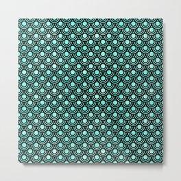Mermaid Scales in Metallic Turquoise Metal Print