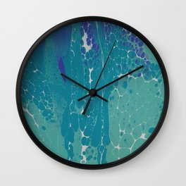 Blue Green and White Cells Wall Clock
