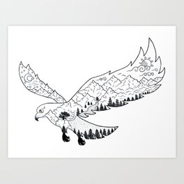 AfetMirzayeva Graphic Drawing Nature Birds Illustration Fantasy Art Print