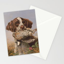 Vintage English Pointer Hunting Quail Painting (1869) Stationery Cards