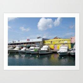 Boats in Bridgetown Art Print
