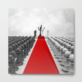 Wedding Chess / 3D render of checkmating ceremony Metal Print