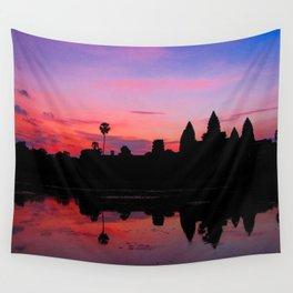 Angkor Wat Sunrise Reflection Wall Tapestry