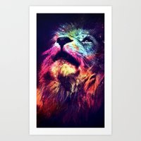 hipster lion Art Prints featuring Galaxy Lion - Space Lion - Hipster Lion by Kris James