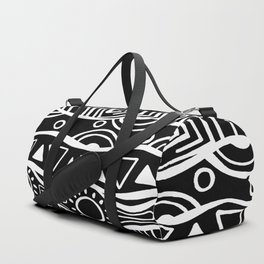 Four Waves - Freestyle Tribal Doodle Design - Black Duffle Bag