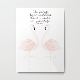 Flamingos on White Metal Print
