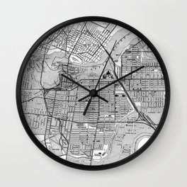 Vintage Map of Ottawa Canada (1915) BW Wall Clock