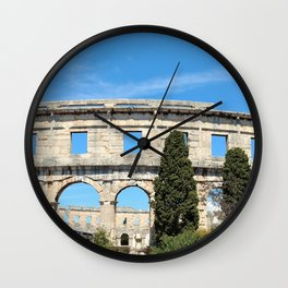 pula croatia ancient arena amphitheatre Wall Clock