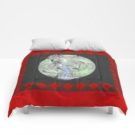 Deepest Red Victorian Vintage Floral Vixen Print Comforters