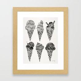 Ice Cream Cones – Black Palette Framed Art Print