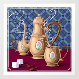 Coffee pot and two cups Art Print