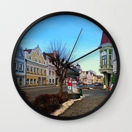 Pictoresque traditional village center   architectural photography Wall Clock